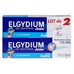 Elgydium Gel Dentifrice Junior Protection Caries 7/12 Ans Arôme Bubble 2 x 50 ml